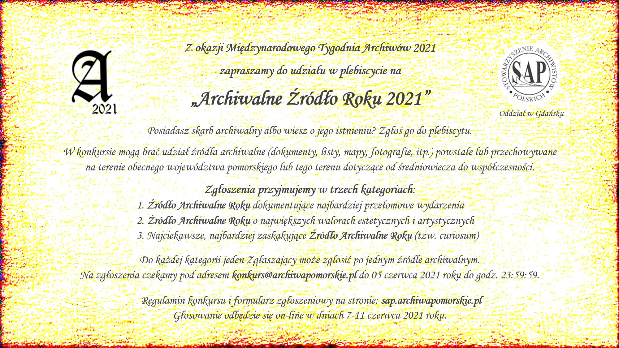plakat plebiscytu archiwalne źródło roku 2021